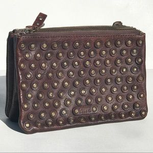 Frye Studded JENNA Clutch BAG leather brown Unisex